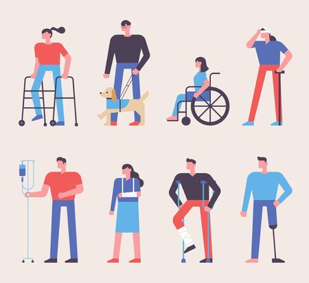 Various patients characters. flat design style minimal vector illustration. 스톡 콘텐츠 - 131898600