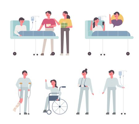 Various patients in hospital. flat design style minimal vector illustration.