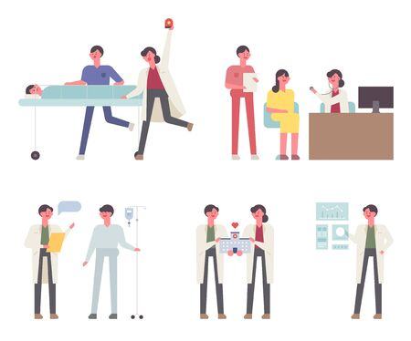 The work of doctors in the hospital. flat design style minimal vector illustration. 일러스트