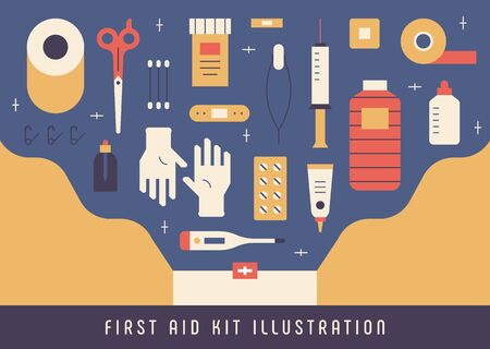 Various medical supplies in the first aid kit. flat design style minimal vector illustration.