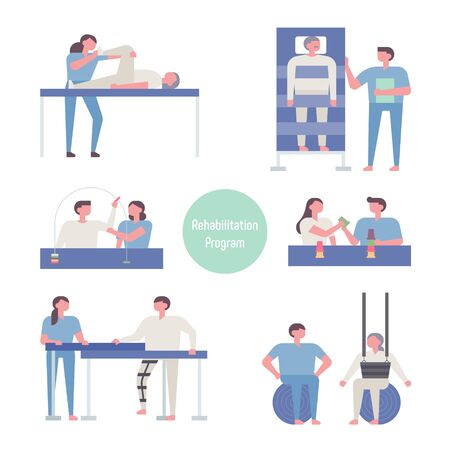 Characters for various rehabilitation systems. flat design style minimal vector illustration.