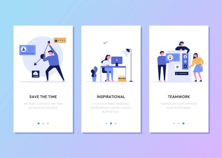 Mobile phone web page template design related to company business. flat design style minimal vector illustration.