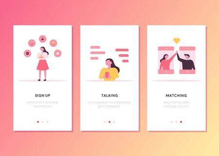 Mobile phone web page template design related to love matching. flat design style minimal vector illustration.