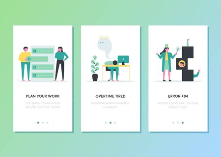Business work related cellphones web page template design. flat design style minimal vector illustration.