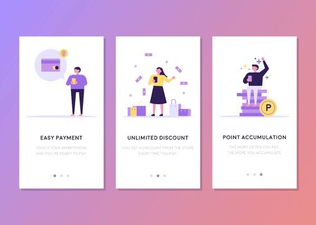 Finance related cellphone web page template design. flat design style minimal vector illustration. 스톡 콘텐츠 - 131898753