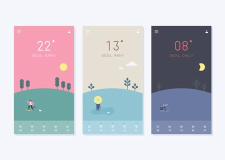 Simple natural background related to temperature. Cellphone App Template. flat design style minimal vector illustration.