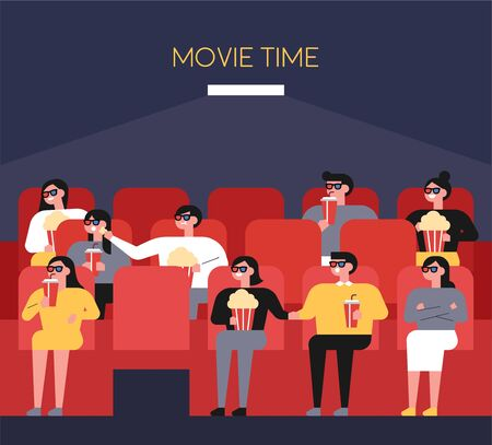 People in the theater wearing stereoscopic glasses, eating popcorn and watching movies. flat design style minimal vector illustration.