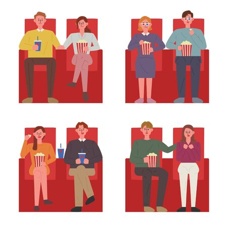 Couples sitting in the red chairs in a theater watching a movie. flat design style minimal vector illustration.