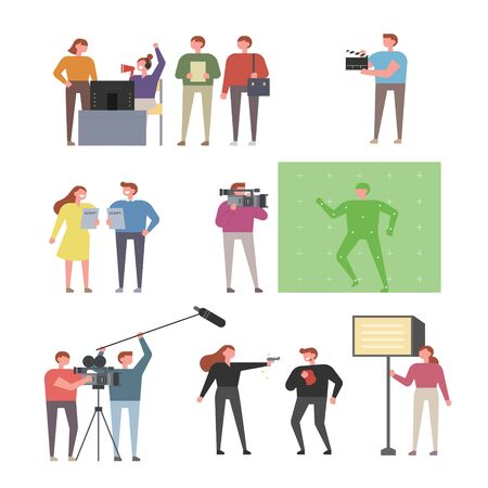 People filming in various positions. flat design style minimal vector illustration.