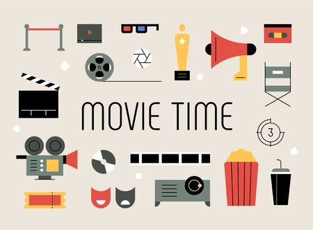 Movie related objects. flat design style minimal vector illustration.