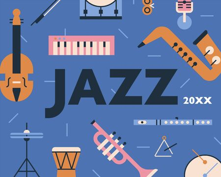 Poster of jazz musical instruments pattern design. flat design style minimal vector illustration. 일러스트
