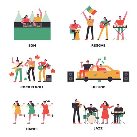 Musicians of various music genres. flat design style minimal vector illustration.