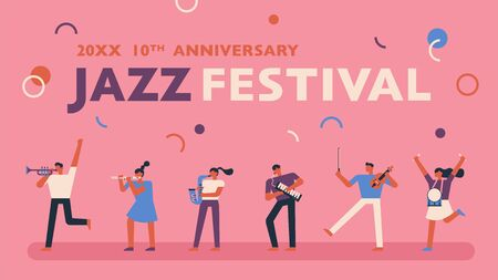 Jazz festival poster on pink background. flat design style minimal vector illustration.