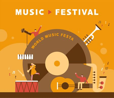 Music Festival Poster. flat design style minimal vector illustration. 向量圖像