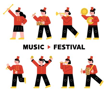 Instrument band character in red uniform playing musical instrument. flat design style minimal vector illustration.