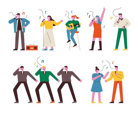 People singing, dancing and playing musical instruments. Song contest. flat design style minimal vector illustration.
