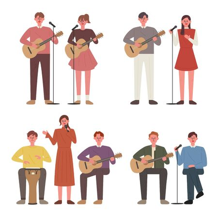 People play guitar and sing. Busking members. flat design style minimal vector illustration. 向量圖像