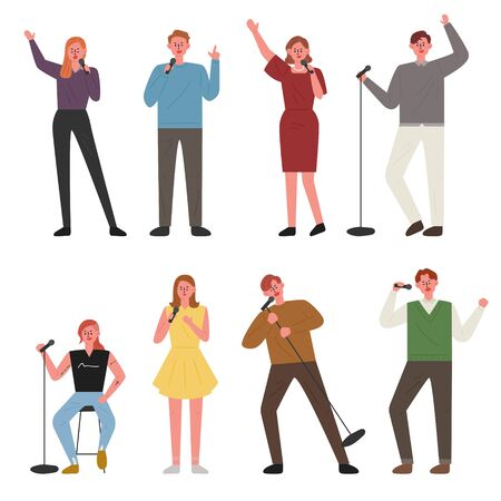 People are singing in various poses. flat design style minimal vector illustration.