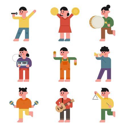 Cute children play various instruments. flat design style minimal vector illustration.