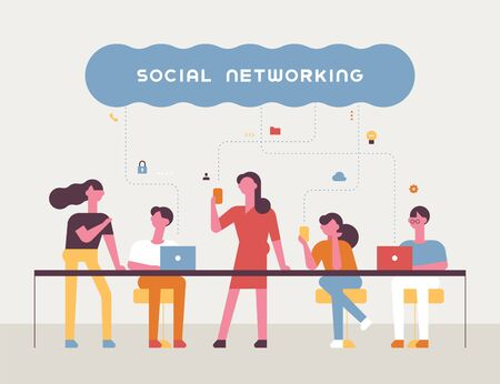 Banner poster of social network concept. Team members working together at the long table. flat design style minimal vector illustration. 스톡 콘텐츠 - 131899035