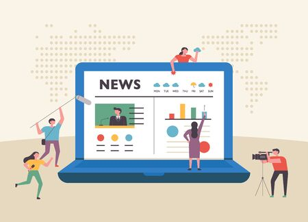Internet news page on huge laptop screen and little people characters around. flat design style minimal vector illustration.