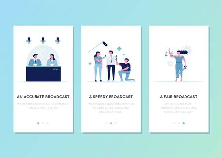News broadcast anchors and reporters. Goddess with scales and sword. Mobile web page template. flat design style minimal vector illustration.