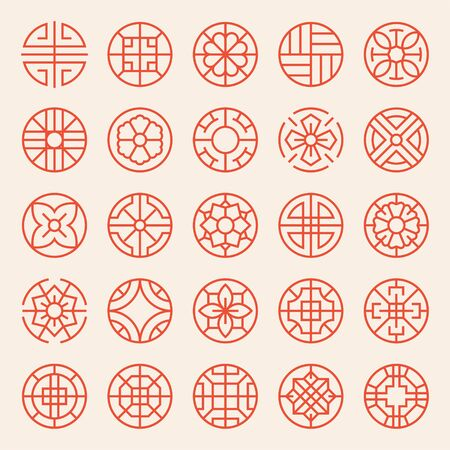Korean and Asian traditional patterns. Circular thin line icon. flat design style minimal vector illustration.