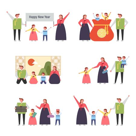 Family character dressed in Korean traditional costume. Show New Year's greetings and traditional culture. flat design style minimal vector illustration. 스톡 콘텐츠 - 131899075