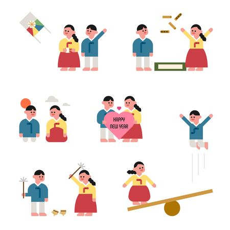 Characters wearing Korean traditional clothes are playing Korean traditional games. Korean New Year characters. flat design style minimal vector illustration.