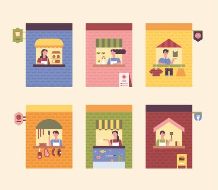 Small brick stores. Flower shop, clothes shop, butcher shop, fish shop, burger shop, bakery. flat design style minimal vector illustration.