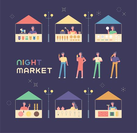 Various shops and guests on the flea market. flat design style minimal vector illustration.