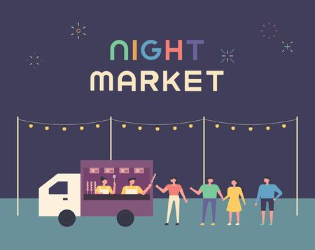 Night Food Truck Market Poster. People waiting in line in a food truck to place an order. flat design style minimal vector illustration. 일러스트