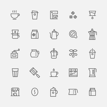 Coffee utensils simple outline icon set.