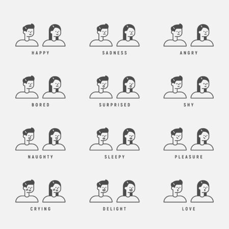 Outline man and woman character. Faces of various emotion expressions. 일러스트