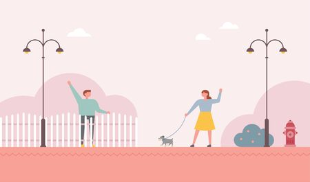 Neighbors greet each other with a fence in between.