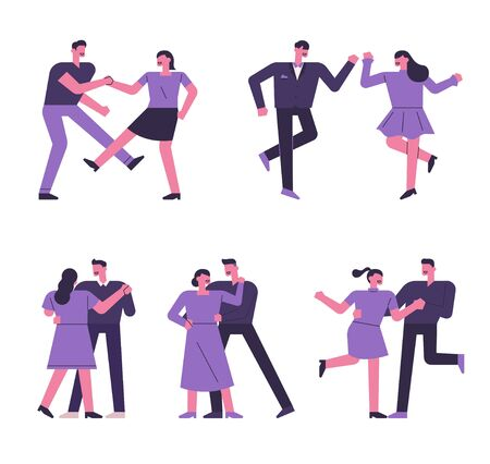 Couple character set dancing variously. 일러스트