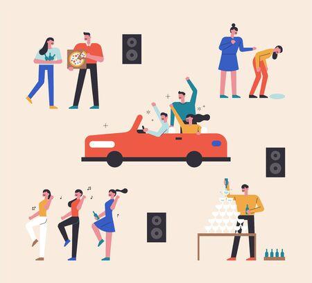 La gente se divierte de fiesta en el club. Personas en auto descapotable. Gente bailando y bebiendo champán.