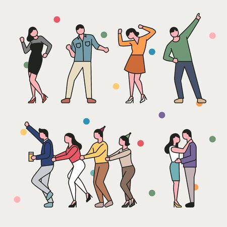 Set of people characters dancing at the party. Simple character design of the outline style.