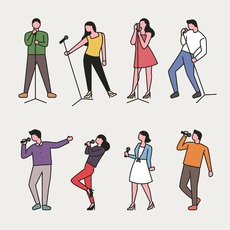 Singing people character set in various poses. Simple character design of the outline style.