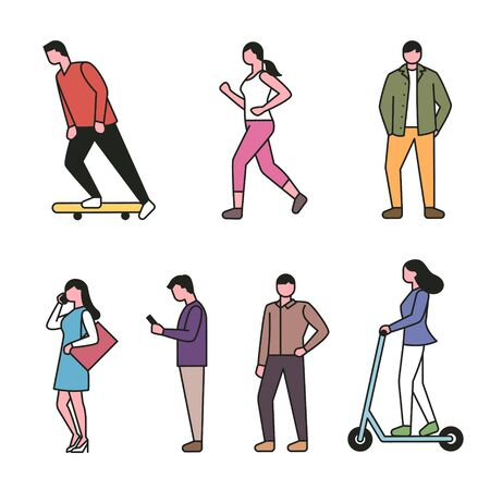 Set of people characters in different styles of streets. Simple character design of the outline style. 일러스트