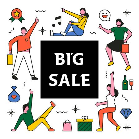 Shopping characters for big sale promotions. 일러스트