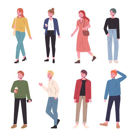 Fashionable street people character set.
