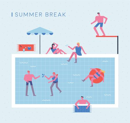 Summer Vacation. People swimming in the pool. 스톡 콘텐츠 - 133022793