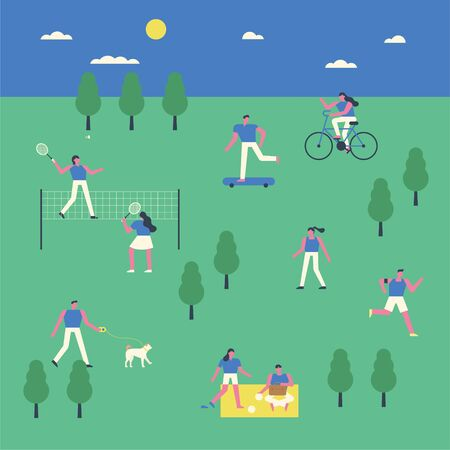 People enjoying leisure in the park. Simple background and small people characters.