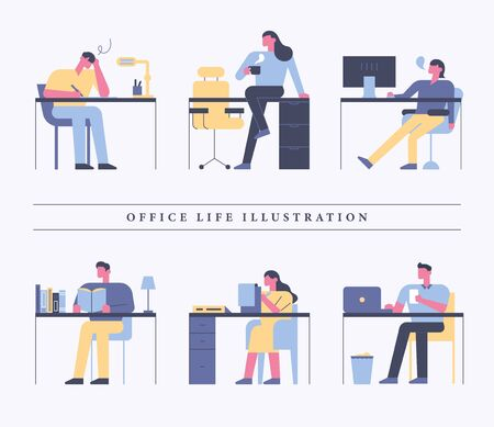Employees working at office desk. 일러스트