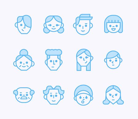 Simple outline face icons.