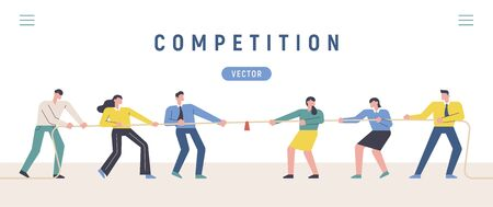 People tug of war with each other. Competition concept banner design illustration. 스톡 콘텐츠 - 133022838