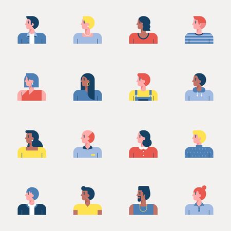 Set of people simple icons of various races and styles. 일러스트