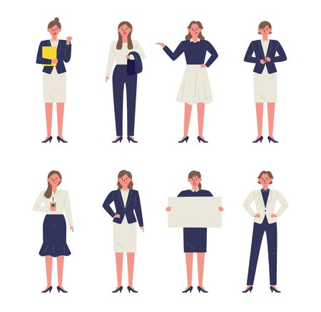 Various gestures of business woman in suit. 일러스트