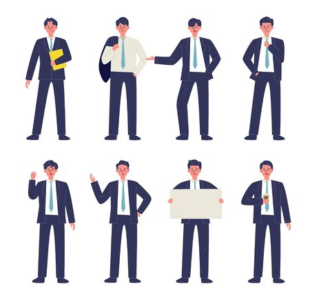 Various gestures of businessman in suit. 일러스트